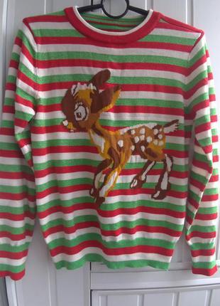 Праздничная кофточка,  новогодний свитер в полосочку с оленем