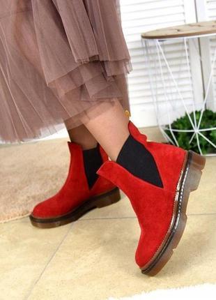Натуральные кожаные замшевые демисезонные женские ботинки челс...