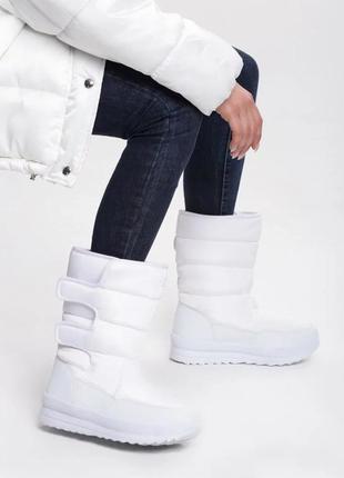 Женские зимние белые сапоги дутики сноубутсы на липучках польша