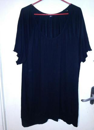 Натуральное,трикотажное,женственное,чёрное платье-туника больш...