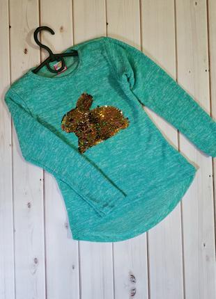 Красивая туника, свитер, реглан ,кофта теплая для девочки пайе...
