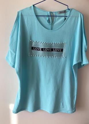 Футболка котонова/ блуза з классным рукавом, большой рамер. love