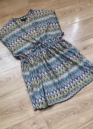Парео накидка пляжная туника в крутой принт/ плаття на пляж