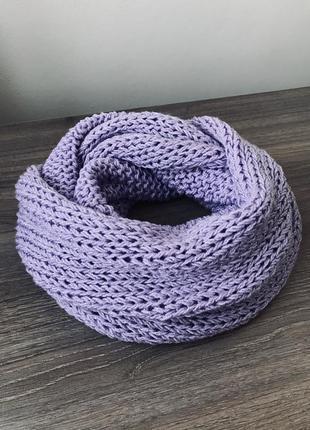 Ніжний снуд, шарф, хомут лілового кольору зі срібним люрексом💜...