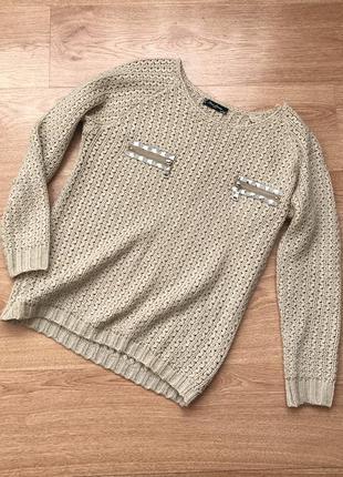 Вязаний светр бежевий з золотим люрексом