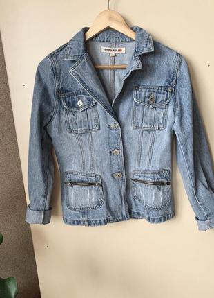 Джинсовый винтажный пиджак/ джинсовая куртка/ джинсовка.