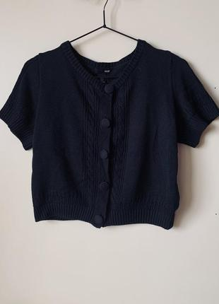 #розвантажуюсь в'язана чорна футболка/ топ / болеро h&m