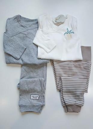 Двойной комплект унисекс боди с длинным рукавом и штаны, брюки...