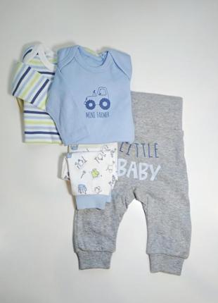 Двлйной клмплект боди+штаны lupilu 50/56 белый, голубой, серый