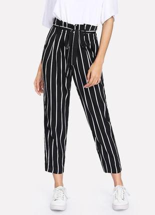 💃модные брюки в полоску/высокая талия/укороченные брюки/кюлоты...
