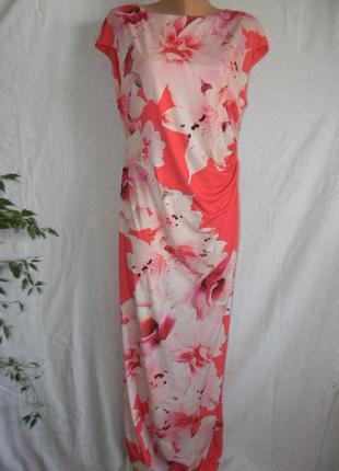 Длинное платье с принтом цветы