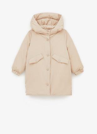 Бежевая куртка парка zara с мехом евро зима / холодная осень деми