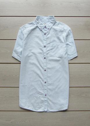 Хлопковая голубая рубашка тенниска с коротким рукавом от river...
