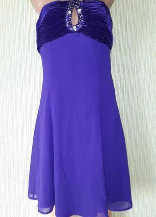 Фиолетовое вечернее шифоновое платье со стразами от quiz
