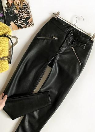 Обалденные базовые кожаные брюки прямого кроя h&m