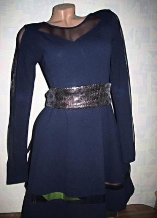 Красивейшее платье колокольчик со вставками сеточки
