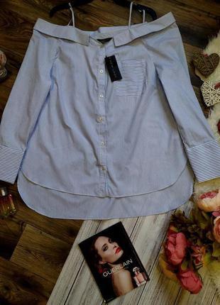 Новая с биркой! крутая рубашка вполоску с бретельками на плеча...