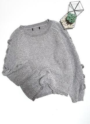 Легкий серый велюровый вельветовый свитер с шнуровкой на рукавах