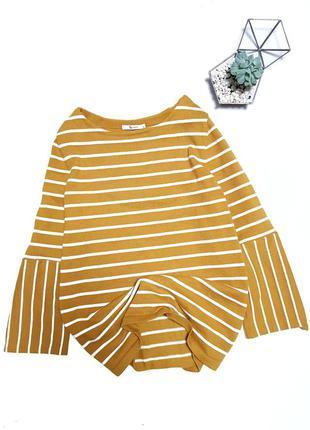 Желтая кофта в полоску джемпер