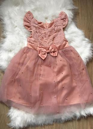 Пудровое платье на девочку