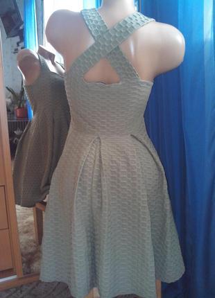 Оливкового цвета лёгкое платье с юбкой солнце от miss selfridge