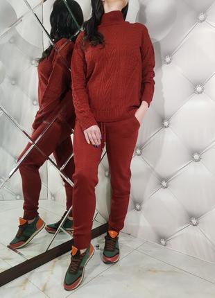 Женский красный теплый вязаный костюм 1217