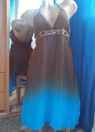 Очаровательное вечернее шифоновое платье градиент от вау