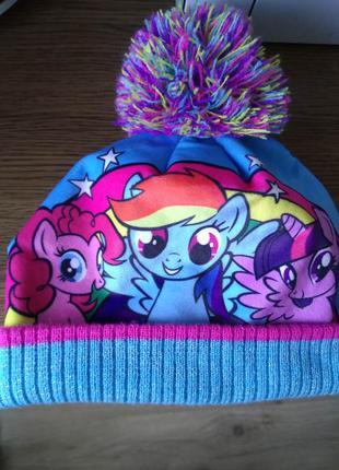 Суперкрутая мультяшная брендовая шапка бини с помпоном радужна...