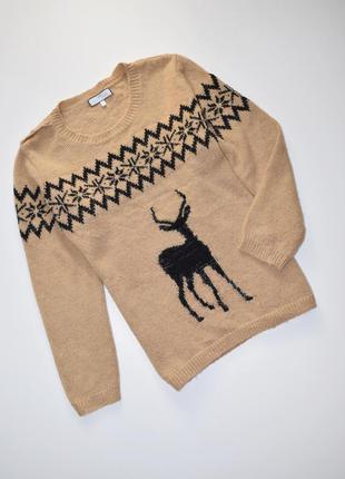 Женский стильный шерстяной свитер с оленем next