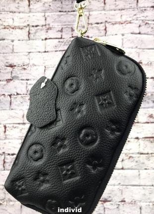 Новый кожаный женский клатч. черный кошелек на молнии. женская...