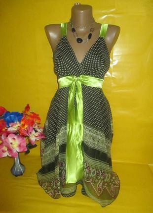 Платье-миди летнее, шифоновое в горошек