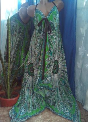 Оригинальное летнее длинное платье-сарафан, асимметрия, в плат...
