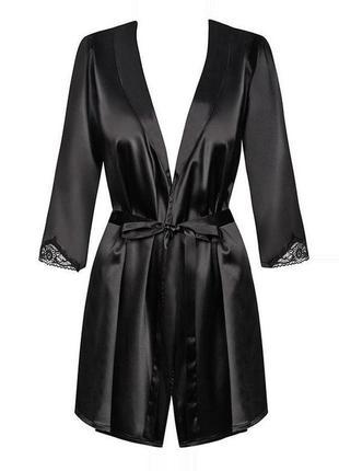 Черный атласный халат на запах с рукавом 3/4 obsessive satinia...