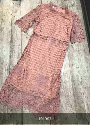 Платье-миди вечернее кружевное тёмно-пудрового цвета