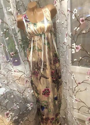 Платье в пол, летнее, с нежным принтом