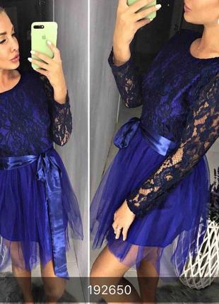 Нежное кружевное платье с фатиновой юбочкой пудрового цвета