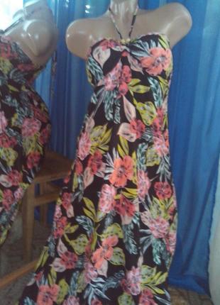 Длинное платье с яркими цветами от ехсuр ( натур. ткань )