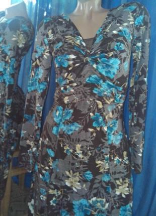 Платье-миди красивое в цветы с поясом от zidane