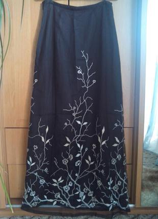 Фатиновая юбочка-макси с вышивкой