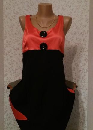 Модное красно-чёрное миди-платье