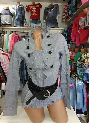Стильная блузочка с воротником-жабо и поясом-резинкой от kalicyu