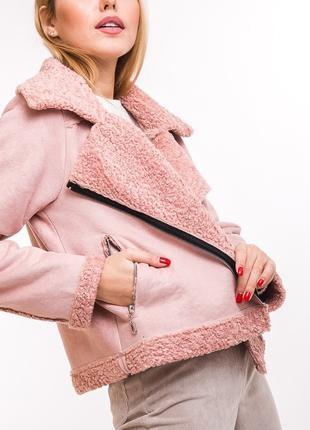 Укороченная женская куртка в стиле модной дубленки M L
