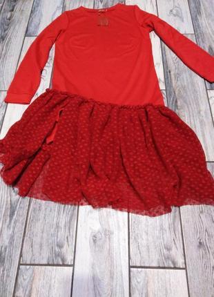 Красное миди-платье с фатиновой юбкой от malyk