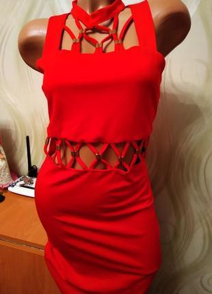 Эффектное красное платье-миди от in vogue paris