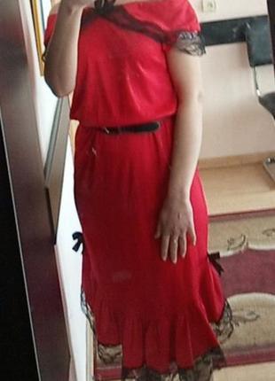 Красивое красное платье-миди от wicked