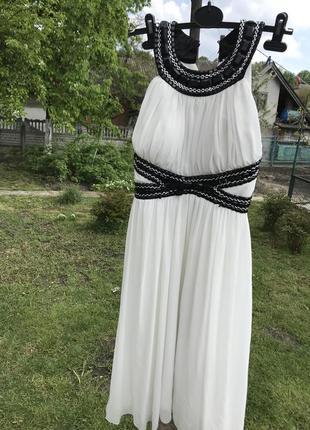 Белое вечернее шифоновое платье с камнями от vitality