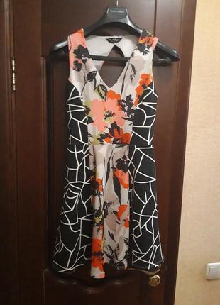Фирменное платье-миди с юбкой солнце от miss selfridge