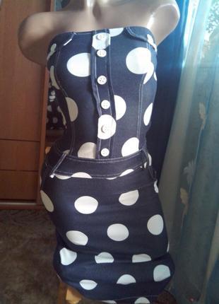 Фирменное платье-бандо в горохи