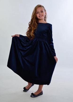 Детское замшевое платье, сзади большой бант