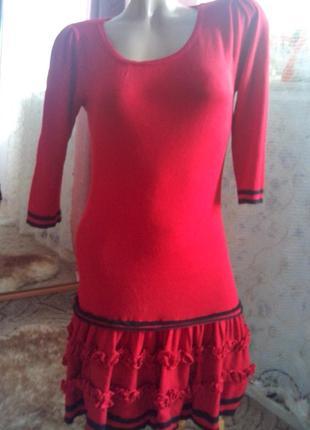 Тёплое трикотажное платье